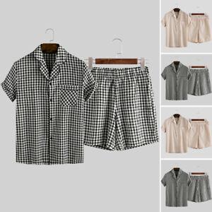 Mens Summer Sleepwear Pajamas Set Check Nightwear Shorts Loungewear Casual Suits