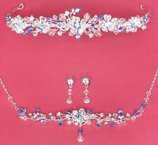 Austrian Crystal Bridal Tiara Jewelry Set Silver Gold Blue Pink Red Amethyst
