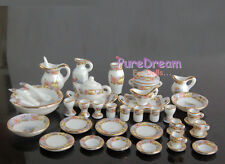 1/12 Dollhouse Miniature Dining Ware Porcelain Tea Set  Dish Cup Plate 40pcs