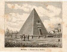 Stampa antica NOVARA ossario piramide del quartiere Bicocca 1891 Old print
