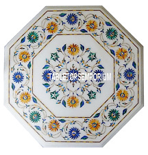 """14"""" White Marble Center Table Top Pietra Dura Inlay Marquetry Occasional Decor"""