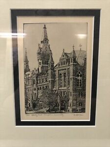 Framed Georgetown University Healy Hall signed etching Barbara Gettier #13/300