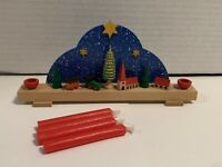 German Wooden Christmas Candle Holder Ornament - Mini Arch Train
