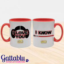 Set 2 tazze di coppia Star Love, Star Wars inspired, I love you - I know, rosse