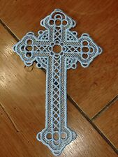 Embroidered Bookmark - Cross - Blue