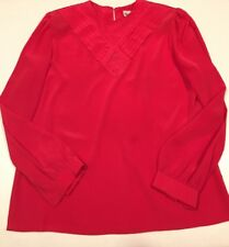 Gailord Women's Hot Pink Long Sleeve Pleated Front Blouse Size 14