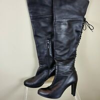 STUART WEITZMAN Women's Boots Over The Knee Black Leather Lace Up Back Size 10 M