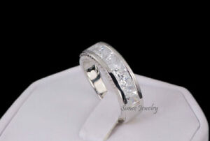 Mens Princess Cut Wedding Band Sterling Silver Size 10.25