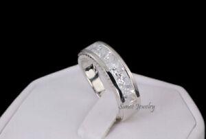 Mens Princess Cut Wedding Band Sterling Silver Size 10.25