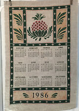 Vintage 1986 Calendar Towel of Pineapple in Green, Red, Gold, Tan Backgroung