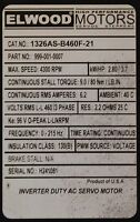 ELWOOD CAT. 1326AS-B460F-21 480 VAC BULLETIN 1326 AC SERVO MOTOR