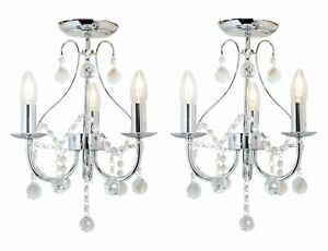 Pair of Chrome & Crystal 3 Light Ceiling Fitting Chandelier Lights Sapparia