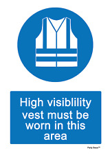 2 x High Visibility Vest area Info Sign Self Adhesive Vinyl Waterproof Sticker