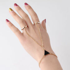 New Fashion Women's Triangle Chain Bracelet With Two Fingers Rings Jewelry Gifts