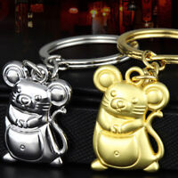"""2020 Year Of Rat """"Fortune"""" Mouse Keychain Silver Alloy Car Keyfob Pendant T% Pw"""