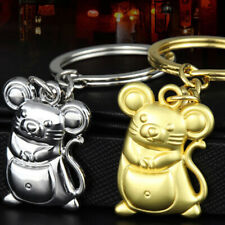"2020 Year Of Rat ""Fortune� Mouse Keychain Silver Alloy Car Keyfob PendantIjus"