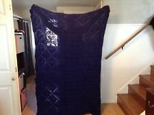 "Handmade Navy Blue Aphgan Blanket knit crocheted Lovely 100"" x 74 EUC"