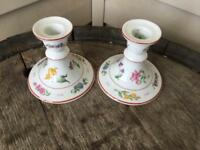 Georges Briard Made France Floral Fantasy Candlesticks Pair Ship FREE
