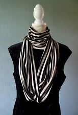 Black and beige infinity scarf striped loop scarf stripe scarf unisex accessory