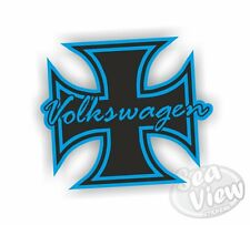 Volkswagen Iron Cross Blue Retro Vintage Car Van Sticker Funny Decal Stickers VW