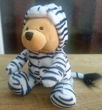 "8"" Plush Winnie the Pooh in a Zebra Costume Beanie Flip Off Hood Disneyworld (F)"