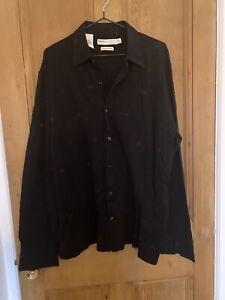 Perry Ellis Aztec Print Black Mens Cotton Shirt XL