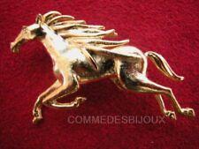 """Broche """"Cheval Fougueux"""" N° 3 doré Crinière Pégase Equus - Bijoux pur Bestiaire"""