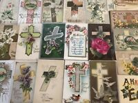 "LOT of 20 BEAUTIFUL Vintage~"" EASTER CROSSES"" with Flowers CROSS POSTCARDS-a912"