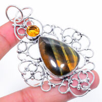 "Tiger Eye, Citrine Gemstone Handmad 925 Silver Jewelry Pendant 2.96"" ARK-1327"