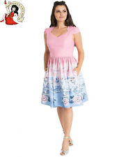 HELL BUNNY SWAN MID DRESS ROSE vintage style FLORAL PINK XS-4XL