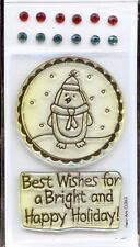 HERO ARTS clear stamps & Gems HAPPY HOLIDAY Christmas Penguin