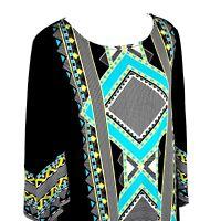 Alfani Women's Petite Size PM Scoop Neck 3/4 Sleeve Blouse Top Black Blue