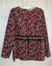 PLUS SIZE WOMENS BLACK & WINE PAISLEY PRINT BUTTON DOWN SHIRT PLUS SIZE 18W/20W