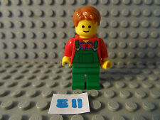 LEGO MINIFIGURE GREEN LEGS/GREEN AND RED TORSO WITH BROWN HAIR (E11)