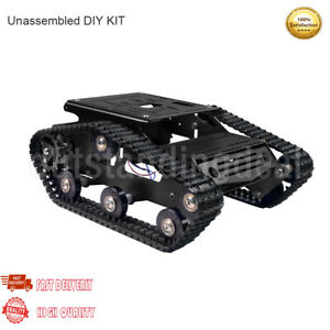 Tracked Tank Chassis CNC RC Tank Chassis for Arduino DIY Unfinished Black