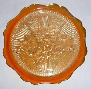"""Jeannette Iris & Herringbone Marigold Carnival Glass Platter (12"""")"""