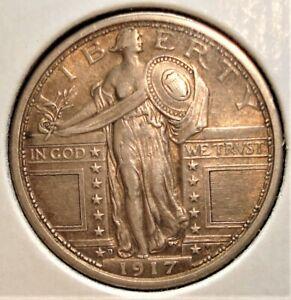 1917-D Type 1 Silver Standing Liberty Quarter NICE