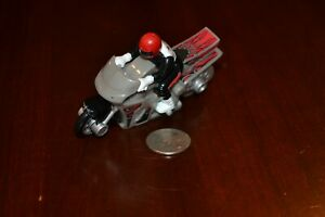 HOT WHEELS FRICTION MOTORCYCLE WITH RIDER SILVER RED BLACK VINTAGE BIKE