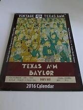 TEXAS A&M Aggies VINTAGE FOOTBALL GAME-DAY PROGRAM ART Calendar 2016 NEW Frame