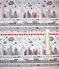 New York City Fabric - The Big Apple Gray Stripe - Benartex Kanvas Studio YARD