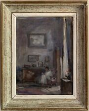 1950'S FRENCH SIGNED VINTAGE OIL - INTERIOR SCENE LAY SEATED IN CHAIR BY WINDOW