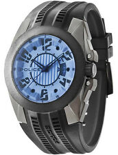 Police 14155JSUB-04P Radical Blue Dial Black Rubber Strap Men's Watch