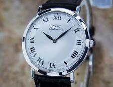 Piaget 18k Solid White Gold Automatic Swiss Made 32mm Dress Watch c1980 mx129
