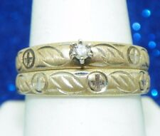 DIAMOND BRIDAL WEDDING RING SET Real SOLID 10 k White Yellow GOLD 6.4 g Size 9.5