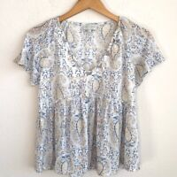 Lucky Brand Womens Blouse White Blue Short Sleeve V Neck Ruffle Top Size Small