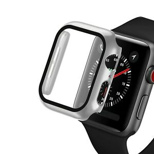 Glass+case For Apple Watch serie 6 5 4 3 SE 44mm 40mm iWatch Case 42mm 38mm bump