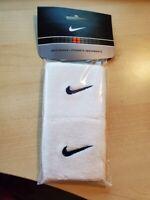 NIKE DRI-FIT Wristbands White w/ Black Swoosh Reversable Pair - Brand New