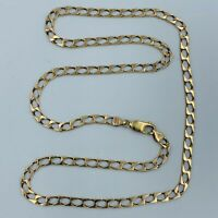 "9ct Yellow Gold 4mm Flat Curb Link 20"" Necklace Chain #778"