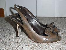 EUC MAX STUDIO.COM Brown Peep open Toe Fringe Leather Slingbacks Heels Size 9 M