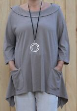 Lagenlook Gray Boat Neck Collared Cotton Tunic H33 Jersey Knit Plus Size 24-28